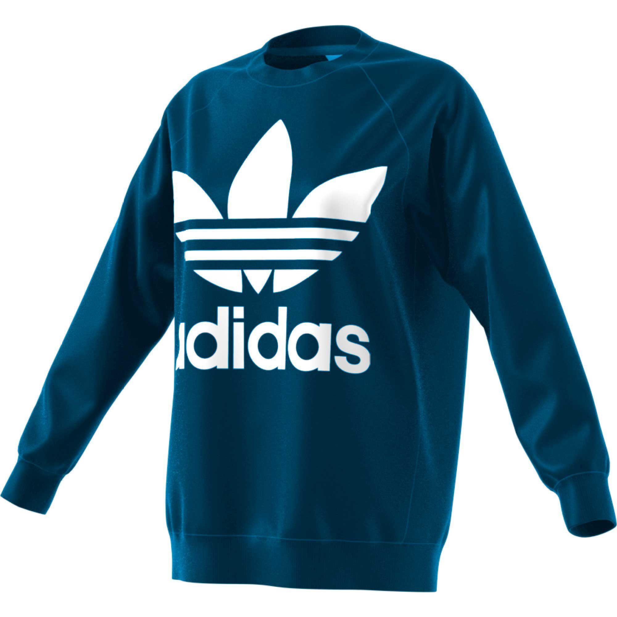 Adidas Originals Women S Oversized Trefoil Crewneck Sweatshirt Adidas Originals Women Sweatshirts Crew Neck Sweatshirt [ 2000 x 2000 Pixel ]