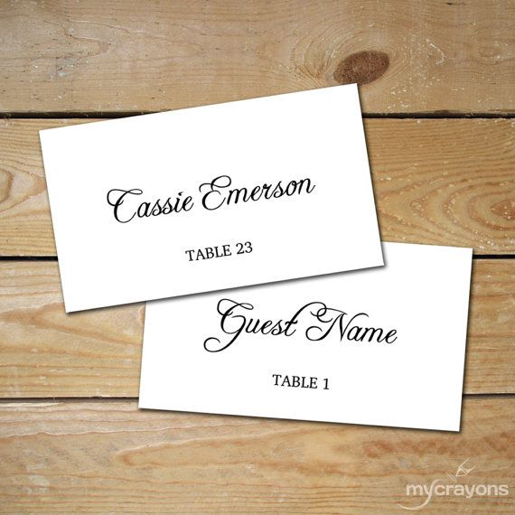 rustic script editable place card printable placecards