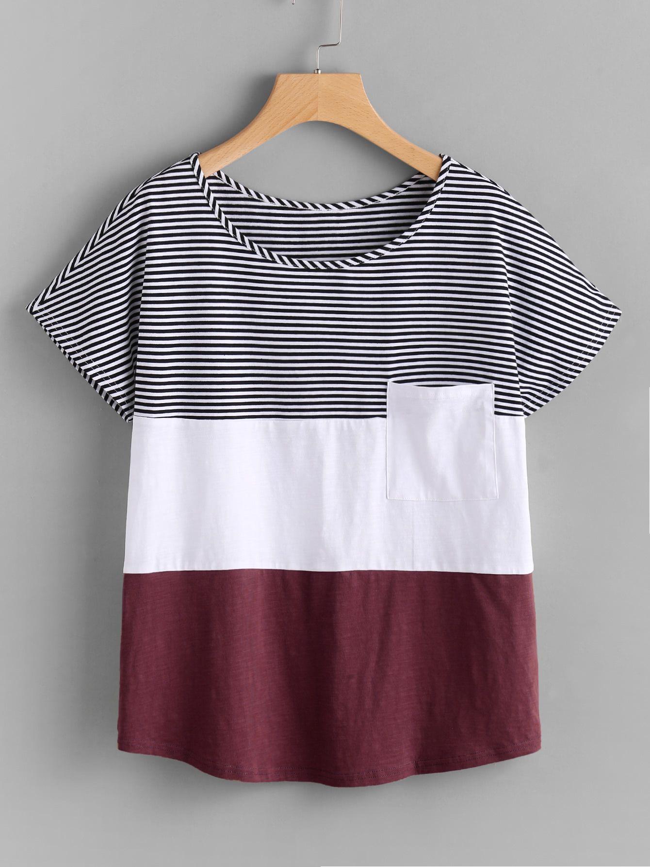 363838cbb8e9c Camiseta con parche con costura -Spanish Romwe Sitio Móvil