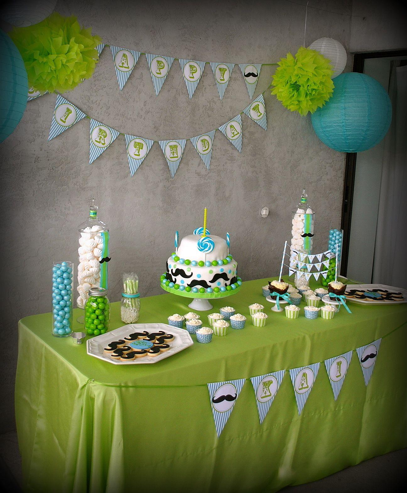 Green And Light Blue Little Boy Birthday Bash