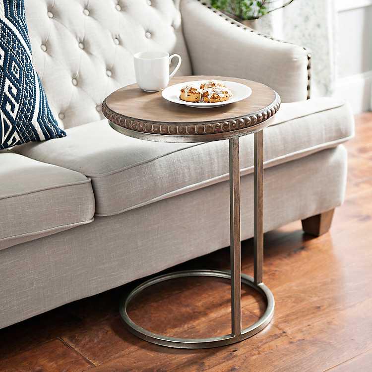 Beaded Round Wood CTable C table, Modern farmhouse