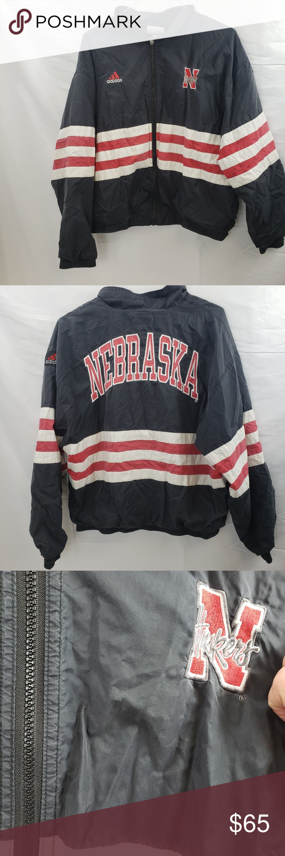 Nebraska Huskers Adidas Football Vintage This Adidas Windbreaker Is A Little Faded As Well As The Handle From The Clothes Design Fashion Design Adidas Football [ 1740 x 580 Pixel ]