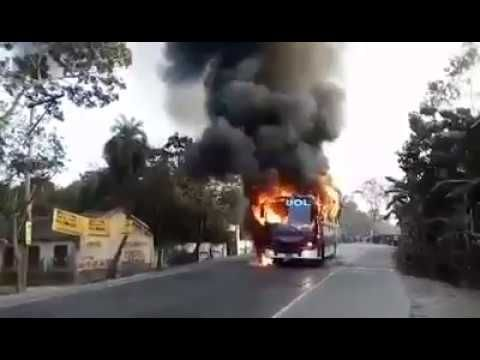 Live Bus Accident In Bangladesh Public Bus Caught On Fire In