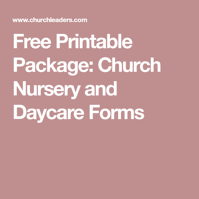Church Nursery And Daycare Forms