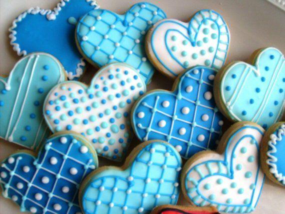 Blue Heart Cookie Favors My Friend Runs A Bakery That