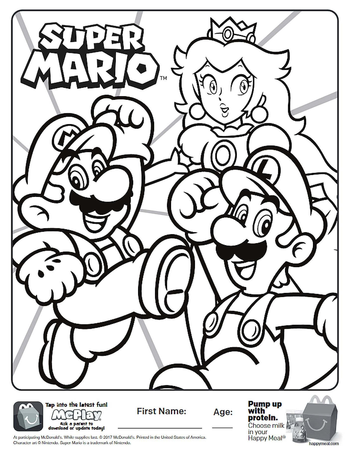 Here is the Happy Meal Super Mario Coloring Page! Click