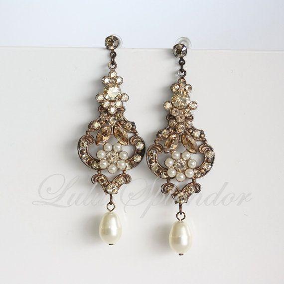 Crystal Chandelier Edmonton: Chandelier Wedding Earrings Antique Gold Bridal Earrings