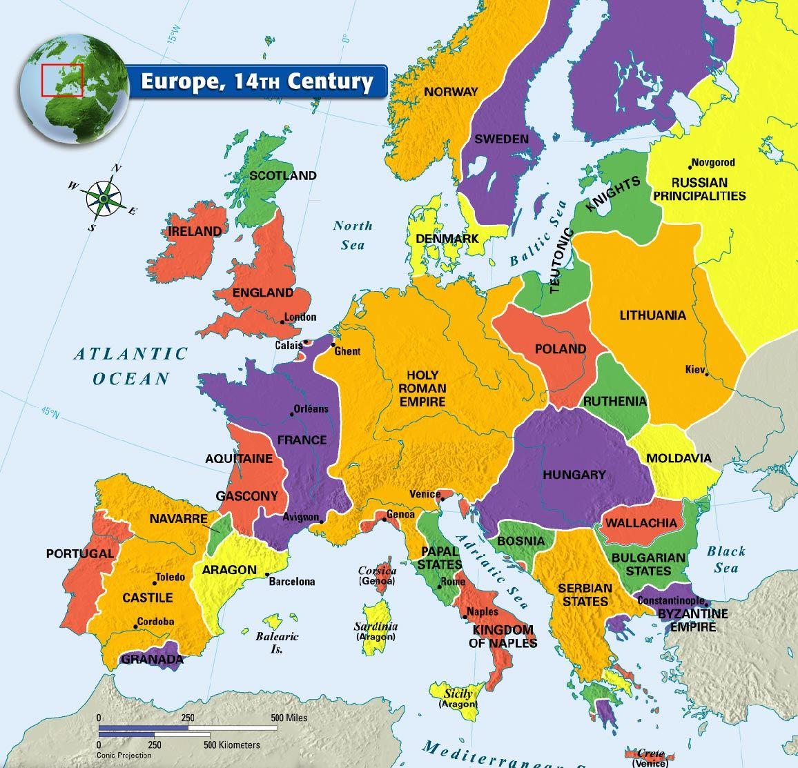 Europe 14th Century Map