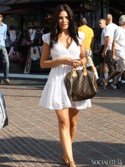 ae71019ed03c White dress and Louis Vuitton Monogram Canvas Speedy 30