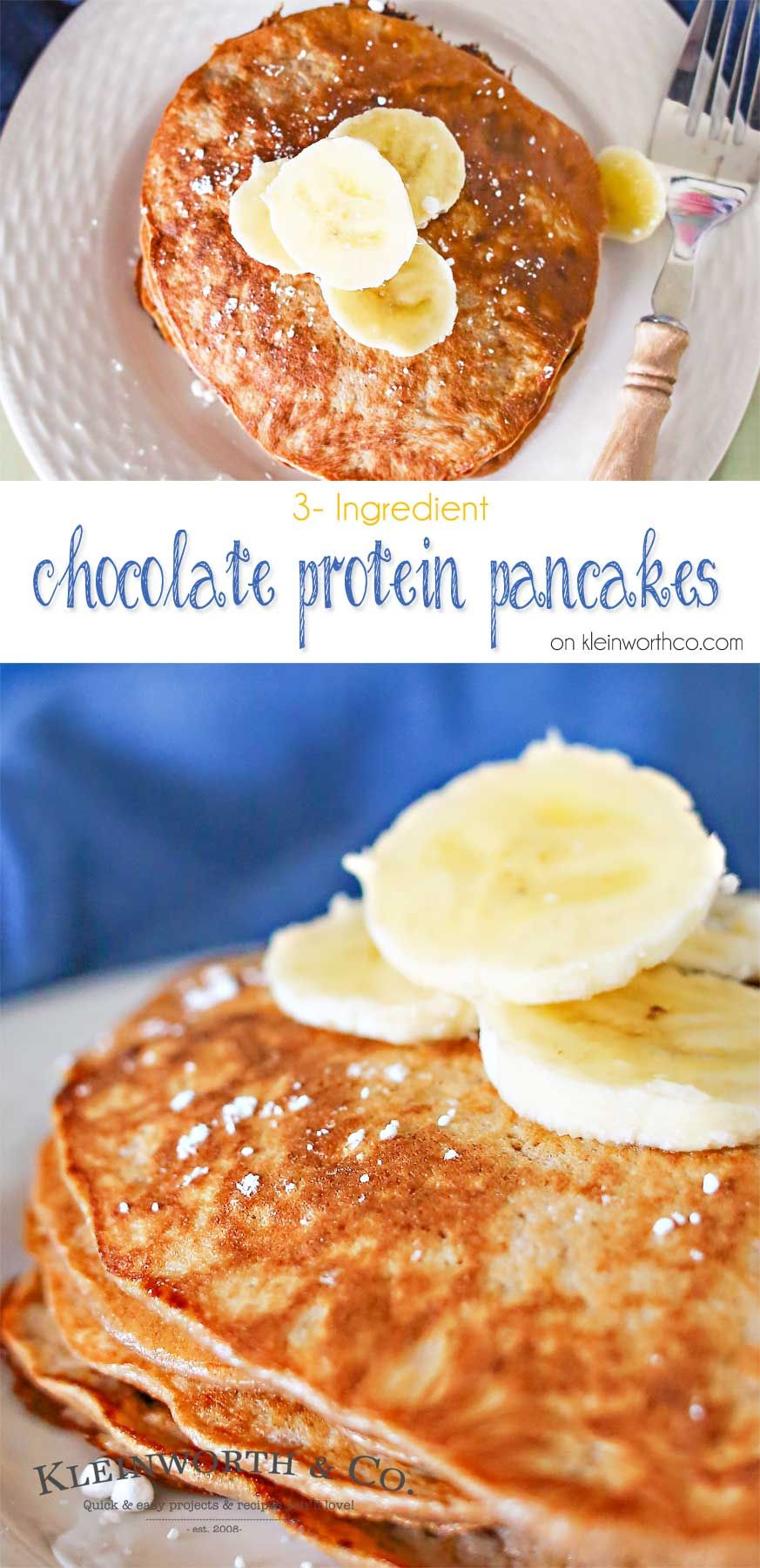 3 Ingredient Chocolate Protein Pancakes