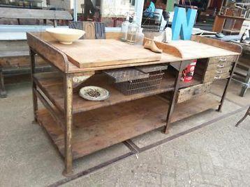 Werkbank werktafel toonbank keukeneiland industriele tafels overige - Oude meubilair dressoir ...