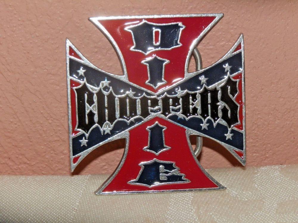 Vintage DIXIE CHOPPERS Red & Black Enamel Maltese Iron Cross