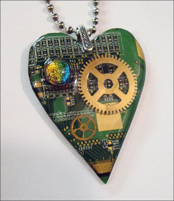Steampunk  jewelry circuit board  heart pendant for a geek - watch parts gears - dichroic glass. $28.00, via Etsy.