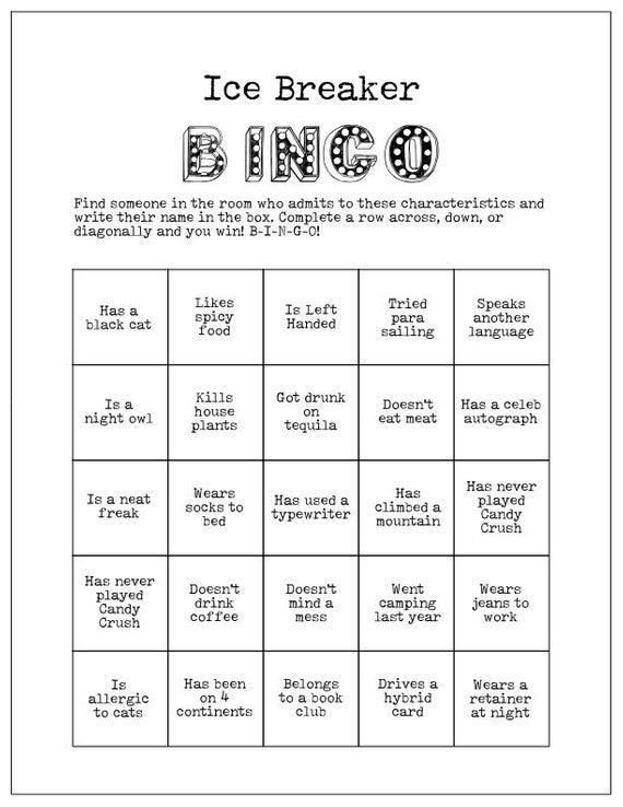 Ice Breaker Game Human Bingo Cards Get To Know You Party Etsy Ice Breaker Bingo Ice Breaker Games Human Bingo