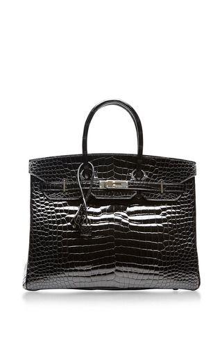 Hermes 35cm black shiny porosus crocodile birkin by HERITAGE AUCTIONS SPECIAL COLLECTION for Preorder on Moda Operandi