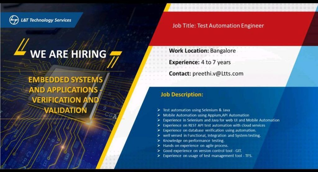 Test Automation Engineer Bangalore Job Openings In 2020 Job Opening Job Service Jobs
