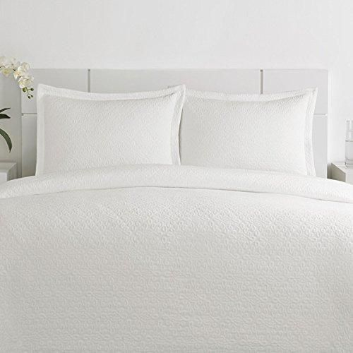 Matelasse Coverlet Queen Set Matelasse White Cotton 3 Piece Coverlet Set  White