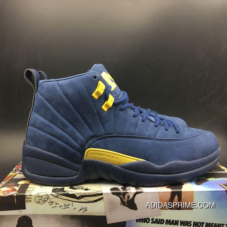 "newest 6330e cfa1a Air Jordan 12 ""Michigan"" BQ3180-407 Blue Yellow Top Original Version  Discount"