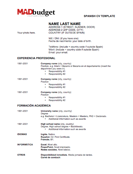 resume templates in spanish resume resumetemplates spanish templates - Spanish Resume Templates