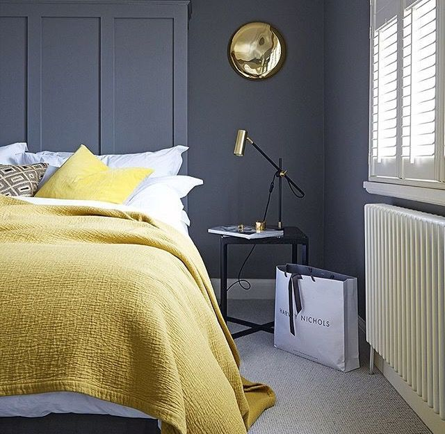 Grey and Lemon Bedroom | #GreyBedroom | Nordic Home | Pinterest ...