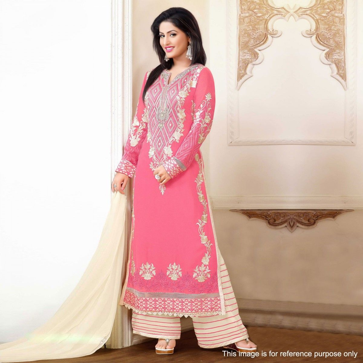 Buy Pink Georgette Palazzo Suit for womens online India, Best Prices,  Reviews - Peachmode