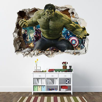 Incredible hulk smashed wall sticker bedroom boys avengers vinyl wall art bedroom boys hulk smash and incredible hulk