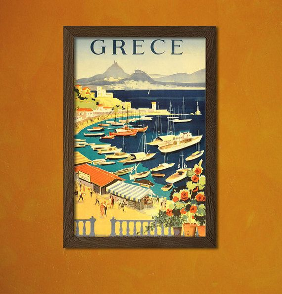 Greece Travel Print - Vintage Travel Poster Greek Prints Retro Wall ...