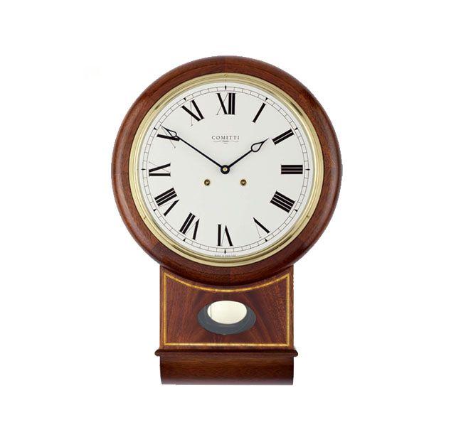 Comitti The Victoria Wall Clock Classic English School Style Drop Dial Clock Mahogany Case With Curl Veneer And Sati Clock Wall Clock Wall Clock Classic
