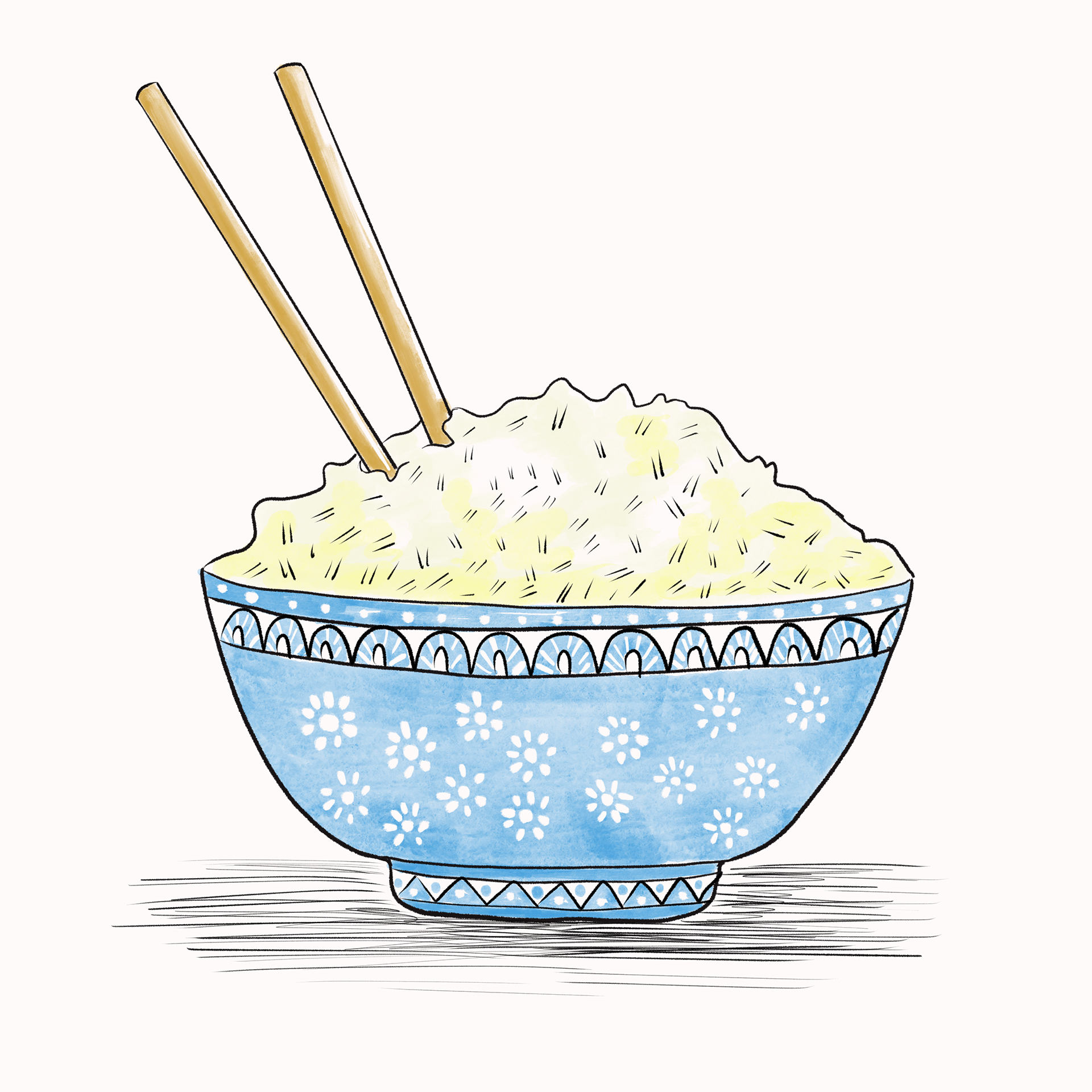 Rice In A Blue Bowl Rice Bowls Bowl Food Illustrations