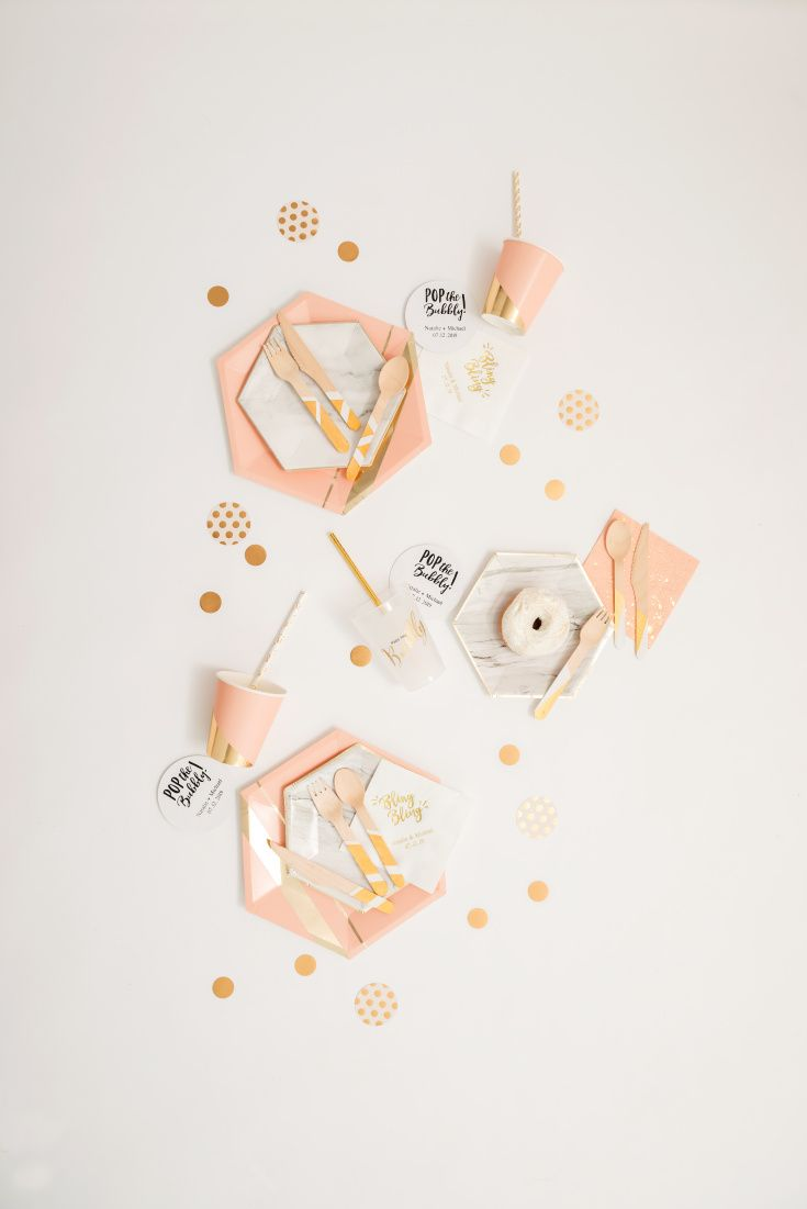 These hexagon shaped paper party plates and