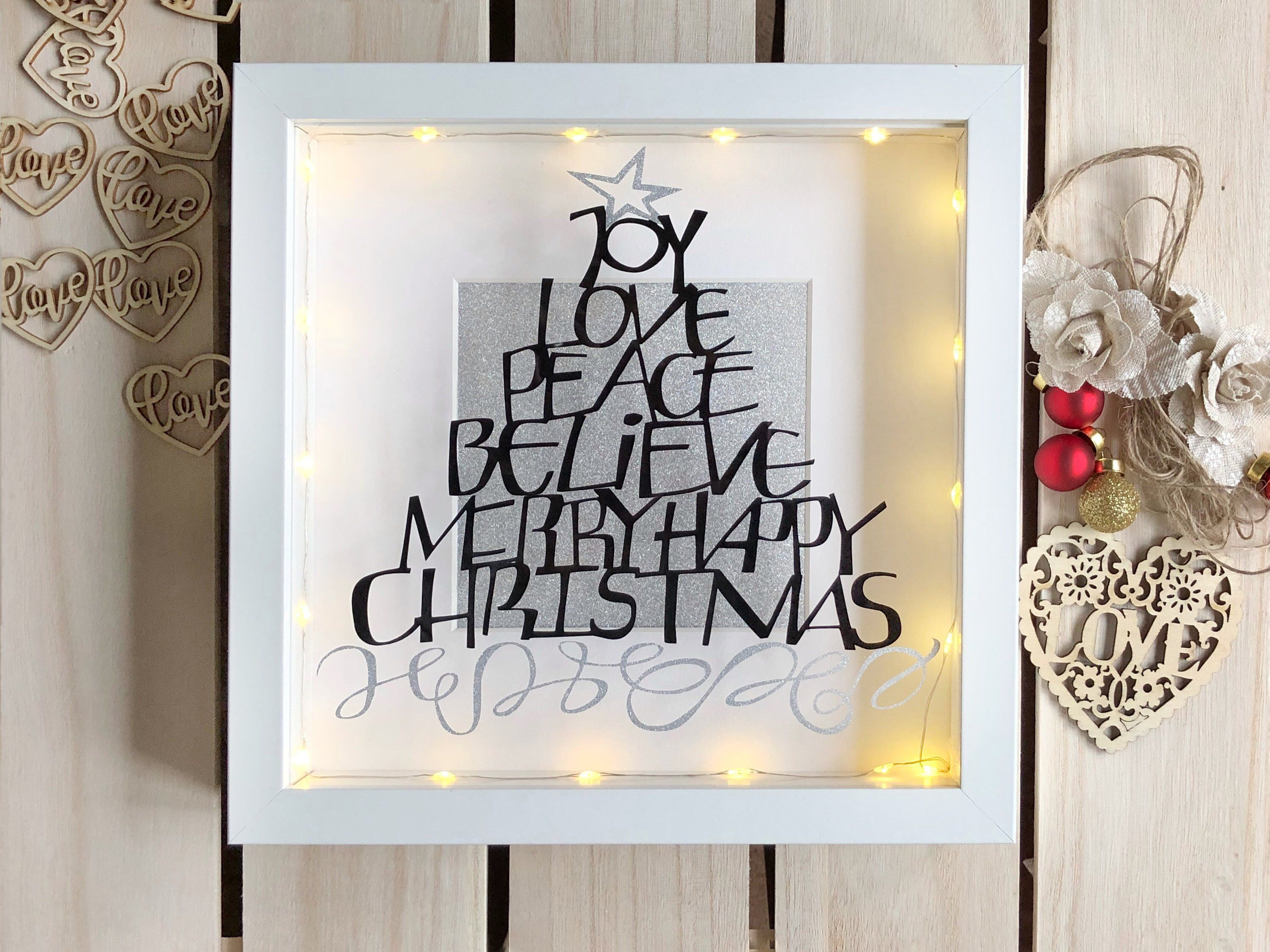 Excited To Share This Item From Our Etsy Shop Christmas Light Up Box Frame Decoration Vinyl Christmas Qu Box Frames Christmas Lights Christmas Tree Light Up