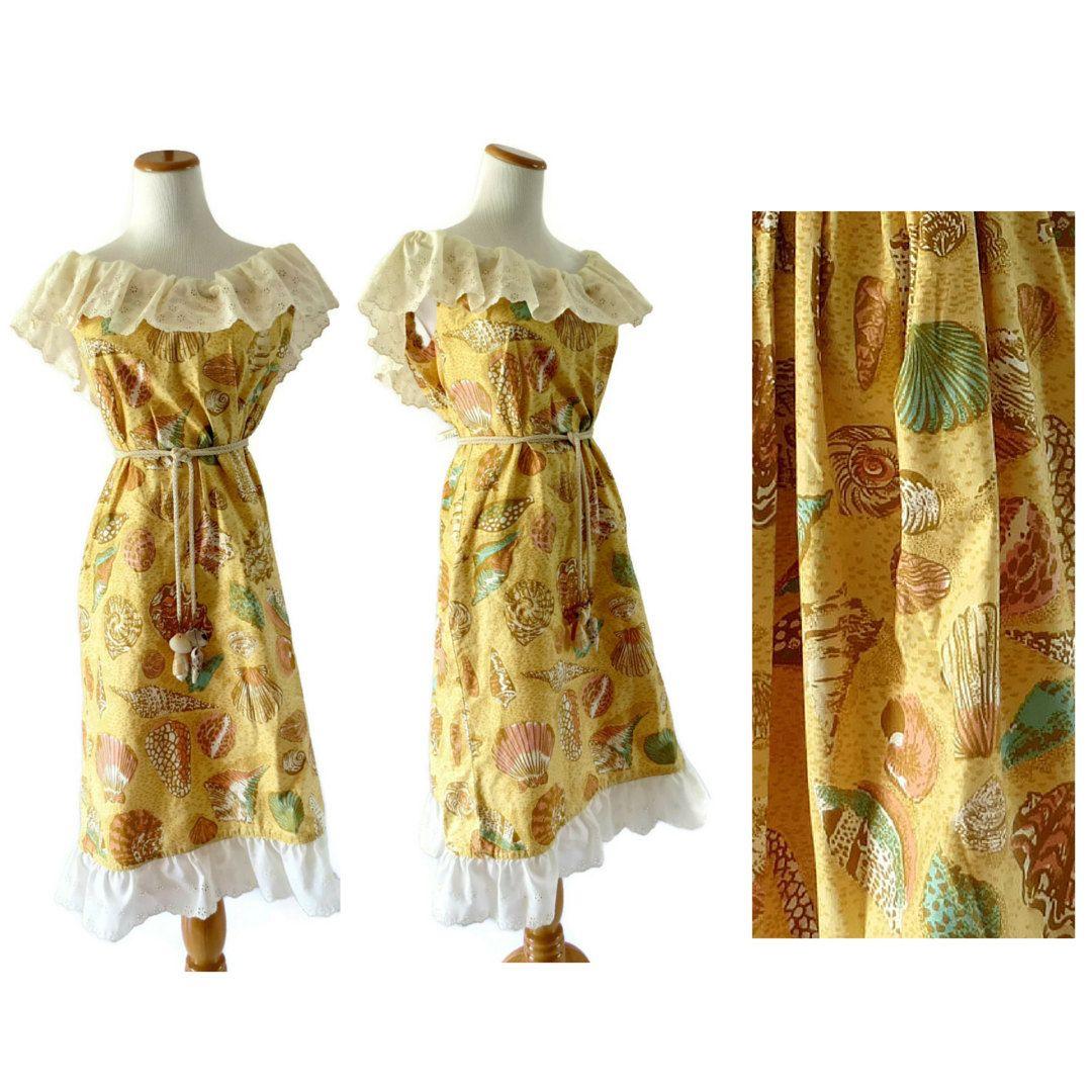 aaf371b845f Seashell Dress Novelty Print Shell Sundress Eyelet Lace Trim 70s Mumu Ocean  Beach Sea Mermaid XL Plus Size by GoodLuxeVintage on Etsy