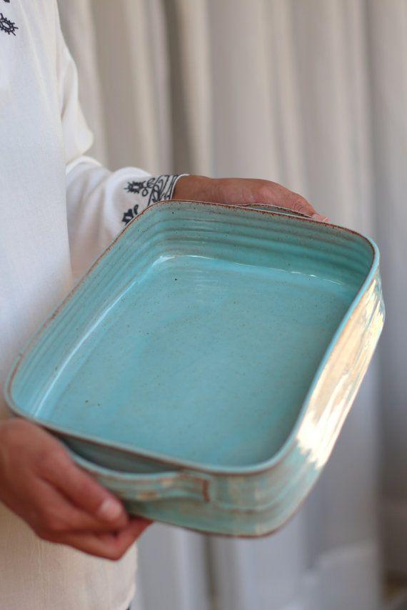 Photo of large baking pan, ceramic baking pan, turquoise baking pan, lasagna …