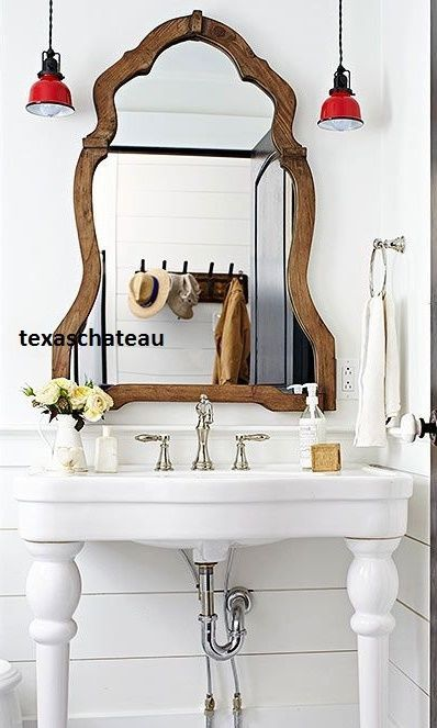 Large French Country Farmhouse Arched Wood Mirror Entry Foyer Bathroom Vanity
