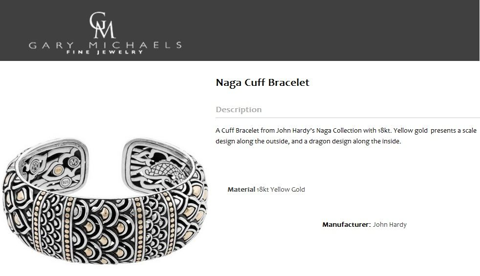 A Cuff Bracelet from John Hardy's Naga Collection with 18kt. Yellow gold  presents a scale design along the outside, and a dragon design along the inside.