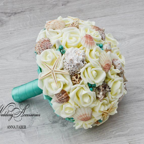 Beach wedding bouquet, Teal Seashell Bouquet,Teal Shell Bridal Bouquet,bridesmaids, ivory and teal wedding bouquet, Sea Shells, Emerald #fantasticweddingbouquets