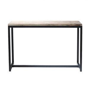 Consolle nera stile industriale in metallo e massello di legno L 119 cm - Long Island