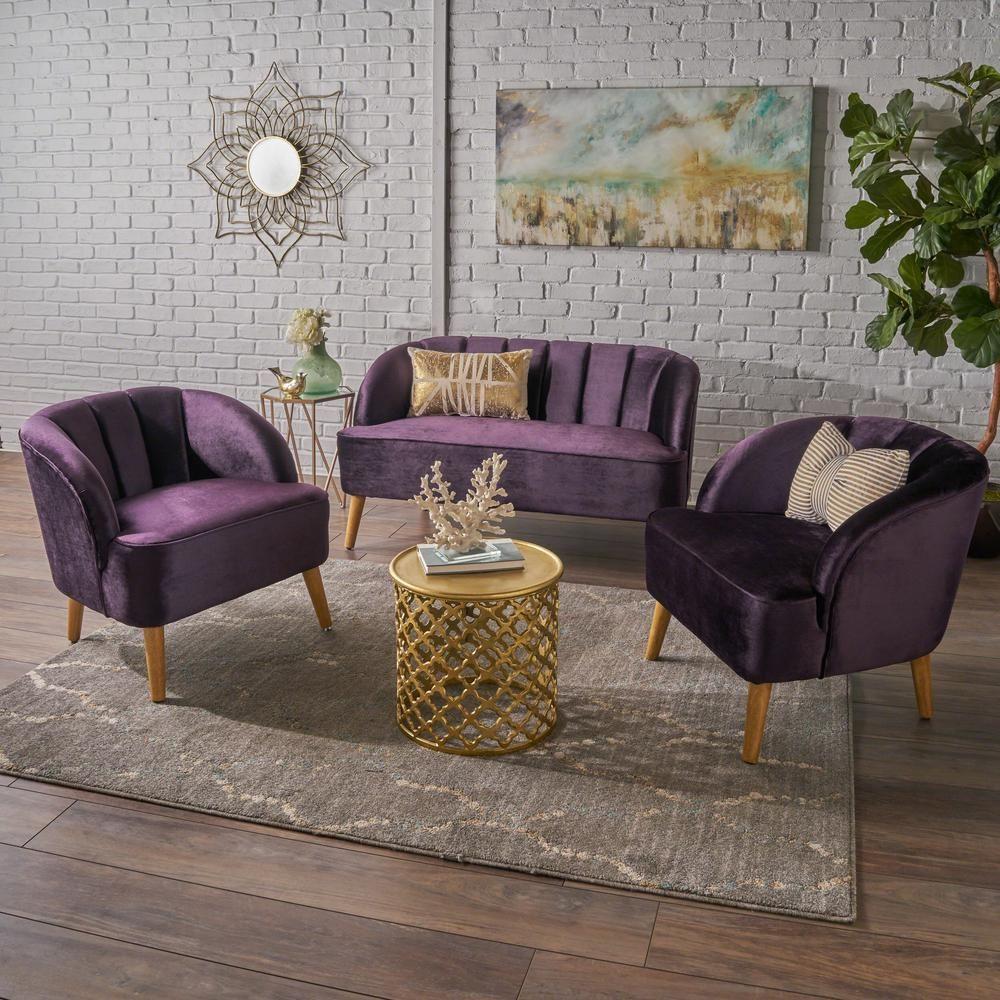 noble house 3 piece blackberry velvet loveseat and club chair chat rh pinterest com