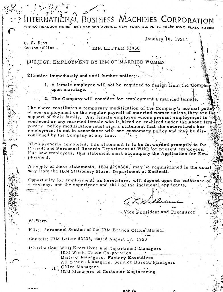 Internal Memo Template Glamorous The Day Ibm Let Married Women Work  Ibm