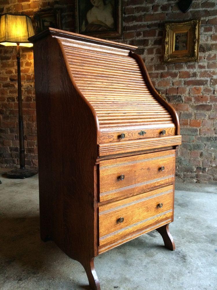 Stunning Antique Roll Top Desk Golden Oak Tambour Front Bureau Small Desk  WOW!