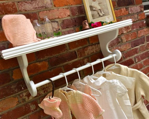Semi Gloss White Wall Shelf 10 Wide With Rod Nursery Shelves For Hanging Baby Clothes Kids Room Quilt Display Select Color Size