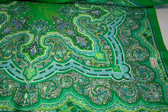 Vintage Liberty London Silk Scarf Green Blue Paisley Design 23 Inches Square  Mid Century Accessory 1115DG