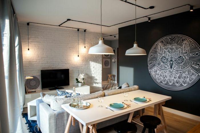 Wohnzimmer Esstisch ~ Prächtig modern wohnzimmer designs tisch vase couch vorhänge