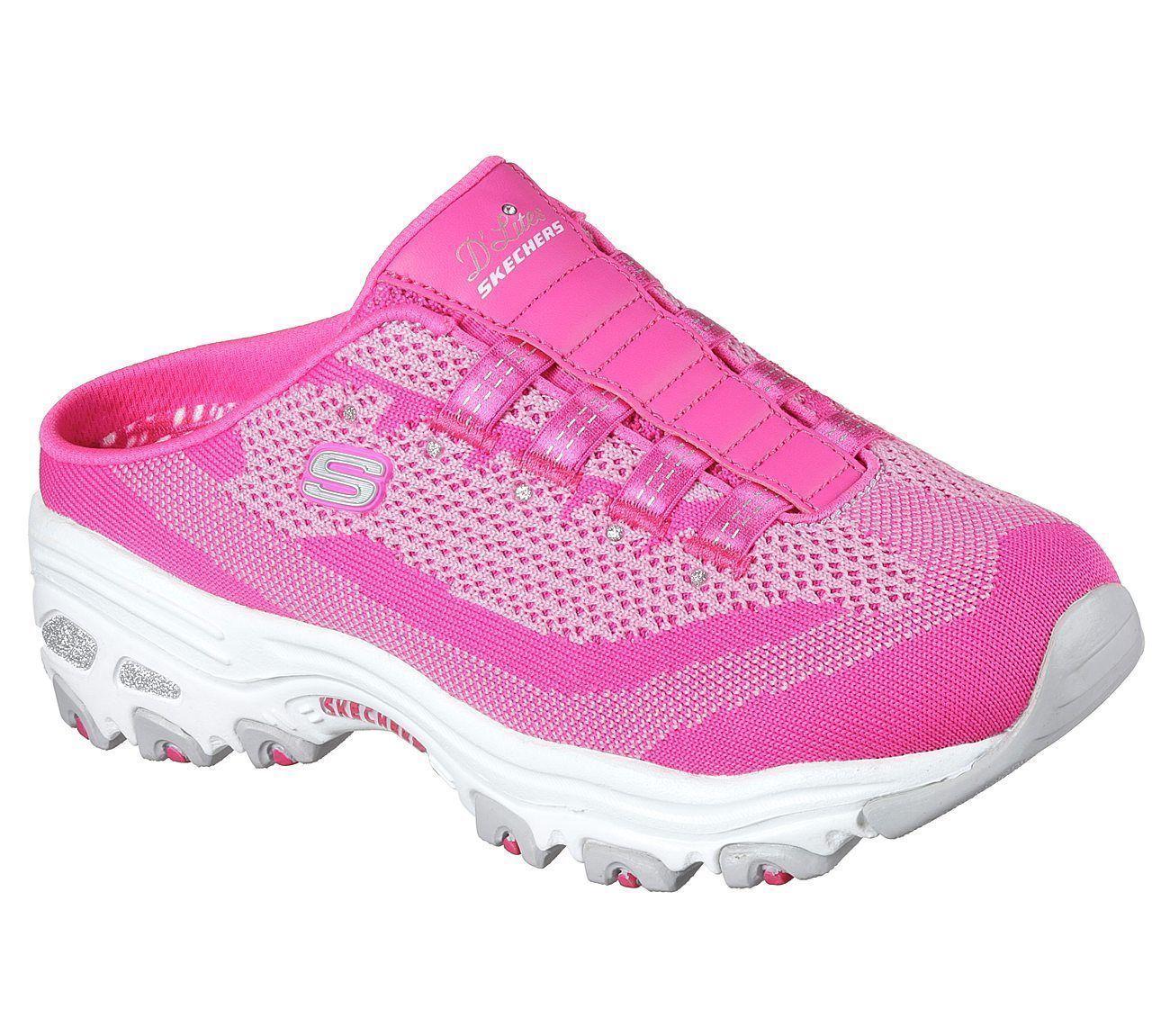 afa8a9a4fe58 ... 11957 Hot Pink Dlites Skechers shoes Women Sport Slip On Clog Casual  Memory Foam