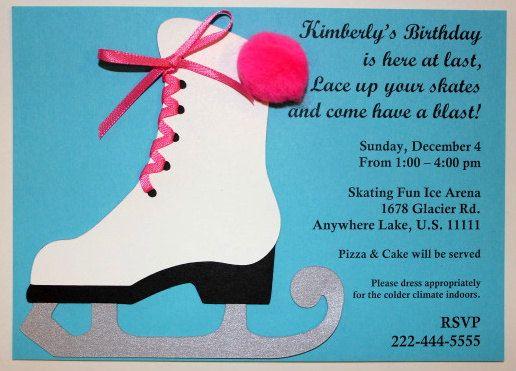 Ice Skating Handmade Birthday Party Invitations – Skating Party Invites