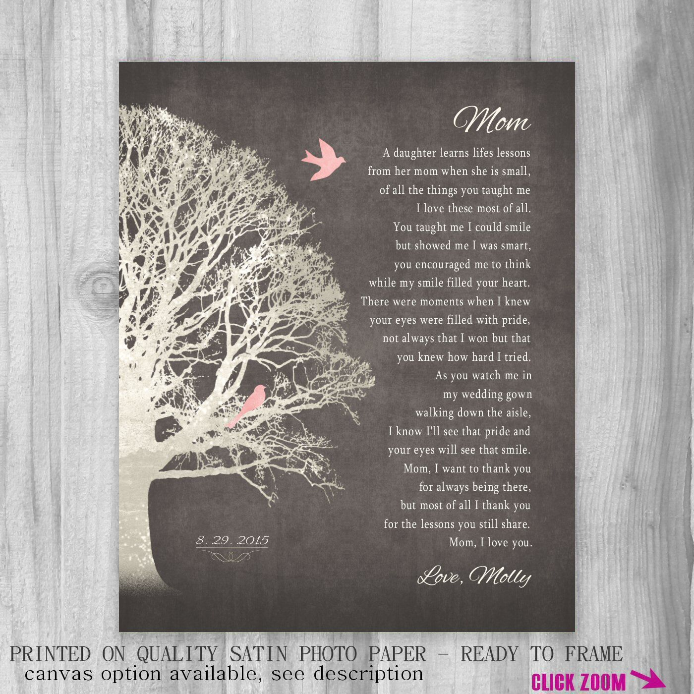 wedding shower poem ideas%0A Gift from Daughter FOR MOM Wedding Gift for by PrintsbyChristine