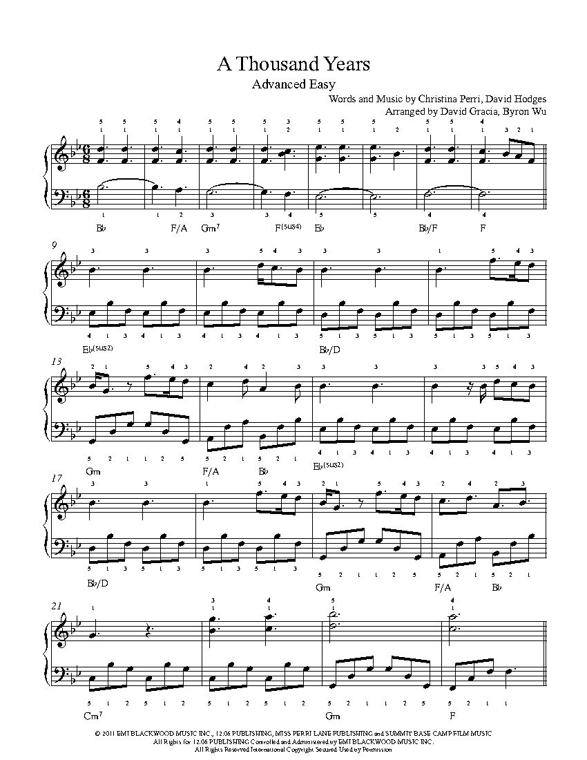 A Thousand Years Piano Sheet Music With Letters Free Thedoctsite