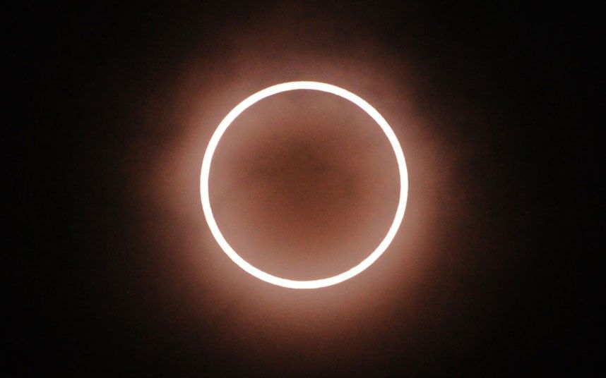 A ring of fire is seen over Tokyo during the annular eclipse