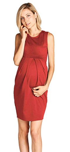 0327b80178344 $29.95 | I love this simple maternity dress | LaClef Women's Knee Length  Front Pleated Sleeveless