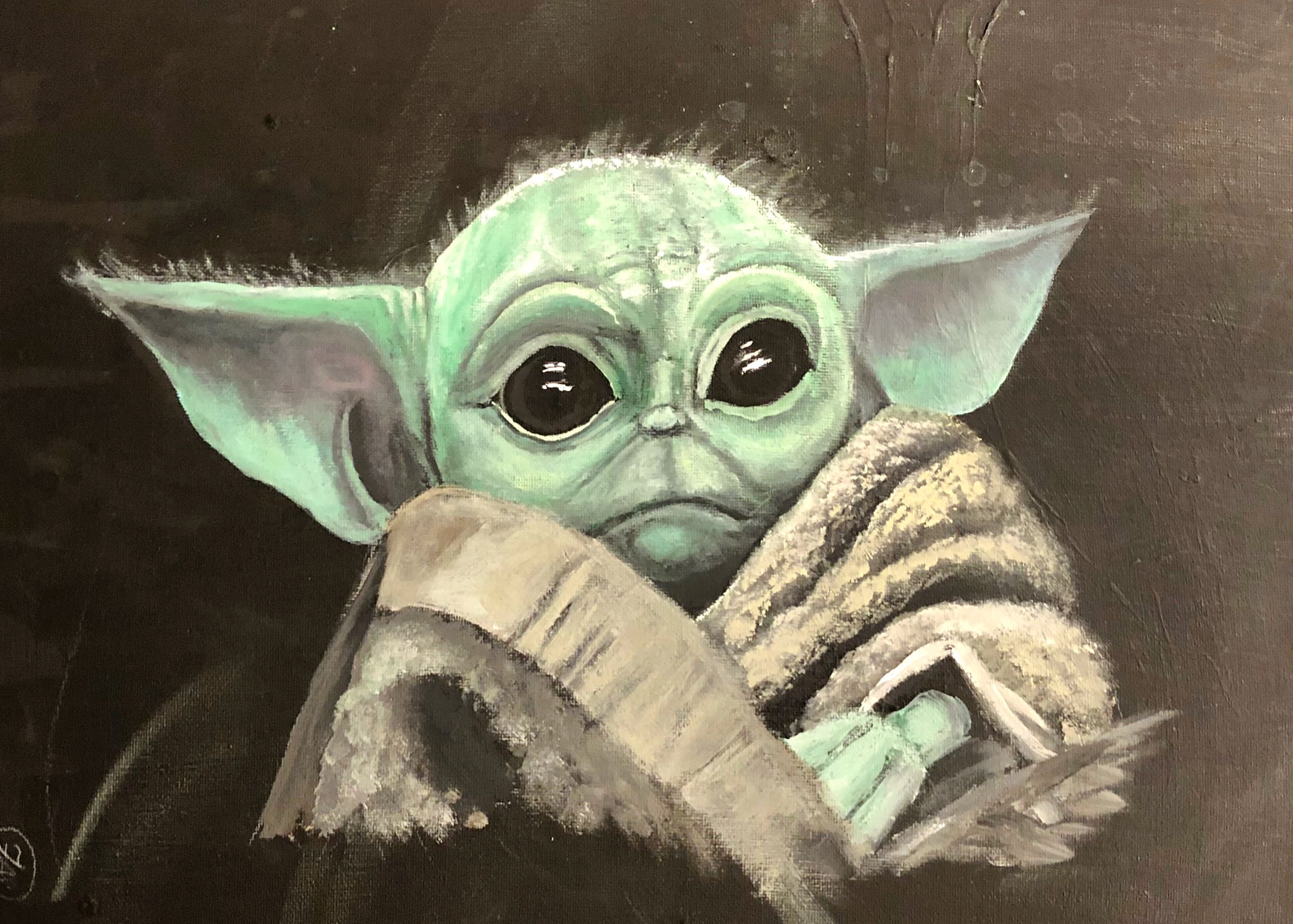 How To Paint Baby Yoda Acrylic Tutorial Youtube Star Wars Canvas Painting Star Wars Painting Cool Art Drawings